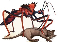 Awahondo (Native American) - Assassin Bug monsters the size of cats, they are very dangerous in big groups. They are vampiric and eat the blood of other creatures, their bite is very painful.