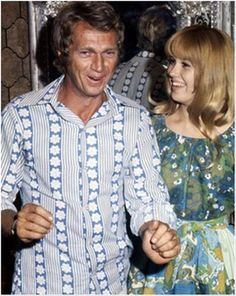 """Photo 1 of 8 In matching fashionable Age of Aquarius threads, Steve McQueen introduces a fresh-faced Lee Purcell to the world during a press conference at his Solar Production offices in Studio City, Calif. (site of the old Republic studios), circa September 19, 1969; Image Credit: United Press International...If you click on the photo, it will take you to an in-depth interview of mine with Ms. Purcell entitled """"Mentored by the Biggest Star in the World: Inside Steve McQueen's 'Adam at 6…"""