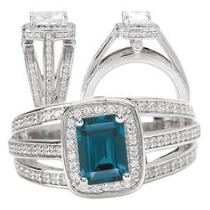18k 7x5mm emerald cut alexandrite engagement ring with diamond halo and split shank