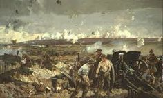 """This is a paining by Richard Jack called """"The Battle of Vimy Ridge."""" This gives the viewer a good perspective of what the horror, sights, smells, and sounds of the battle would be like with. This battle is very significant to Tilman as it was the battle where he fought bravely and lost his leg and his freedom along with it. The horrors of the battle and of the war will be forever ingrained in his memory. - Chris"""
