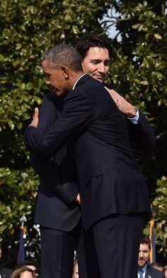 Barack Obama greets Justin Trudeau of Canada