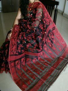 Black and Red Bangladeshi jamdani saree Bangladeshi Saree, Bengali Saree, Bengali Bride, Indian Sarees, Chiffon Saree, Saree Dress, Cotton Saree, Dhakai Jamdani Saree, Handloom Saree