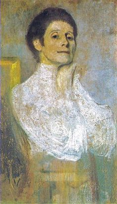 """Olga Boznanska (1865-1945).  This """"autoportret"""" by the Polish Impressionist painter was done in 1906."""