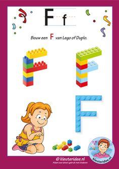 Pakket over de letter f blad 16, maak een D van lego of duplo, kleuteridee, free printable.