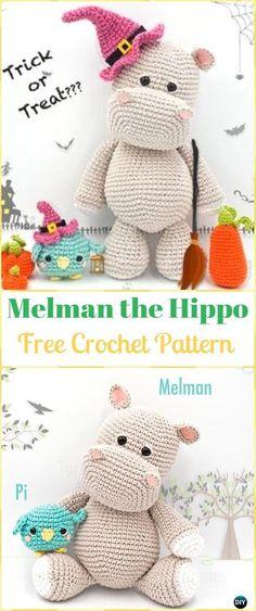 Crochet Amigurumi Hippo Melman Free Pattern - Amigurumi Crochet Hippo Toy Softies Free Patterns by john Crochet Hippo, Crochet Amigurumi, Cute Crochet, Amigurumi Doll, Crochet Dolls, Crochet Baby, Easy Crochet Animals, Easy Animals, Blanket Crochet