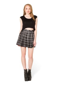 Tartan Black Skater Skirt - LIMITED (WW $50AUD / US $45USD) by Black Milk Clothing