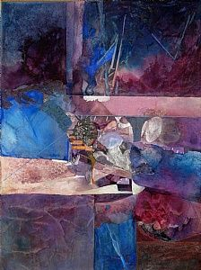 Break by Sue St.John ~~~Sue St. John is a native Hoosier and she resides in Avon, Indiana where she maintain a studio in my home. She has been painting for over twenty years. .In my painting, I work in the medium of watercolor, mixed media and acrylics. Most of my art works tend to be abstract or semi-abstract. I love color and texture, unusual techniques, and in a unique style.