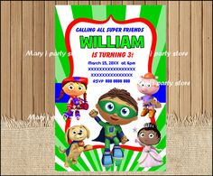 Hey, I found this really awesome Etsy listing at https://www.etsy.com/listing/483969931/super-why-invitation-super-why-birthday