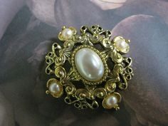 Vintage Victorian Pearl Brooch by PetitDepannier on Etsy, $25.00