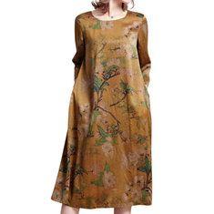 Vintage Women Patchwork Long Sleeve Pocket Spring Dresses Shopping Online - NewChic Mobile