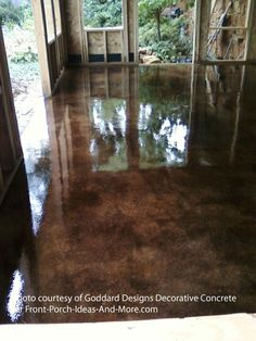 concrete staining sunroom cola and vintage umber