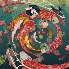 Ukiyo-e tale: The creative circle Art Print by Nicolas Castell | Society6