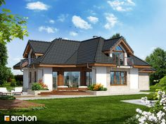 Projekt: Dom w aloesie 3 on Behance Concept Home, Home Fashion, Bungalow, Architecture Design, Sweet Home, New Homes, House Design, Cabin, Mansions