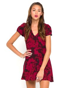 Poor Mona. Still looks fab though! Motel Tahnee Tea Dress in Tonal Floral Maroon | Pretty Little Liars