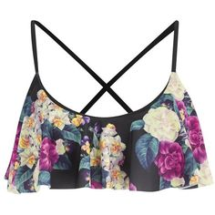 MINKPINK Women's Secret Garden Frill Bikini Top (36 CAD) ❤ liked on Polyvore featuring swimwear, bikinis, bikini tops, tops, bikini, swimsuits, bathing suits, multi, flounce bikini y ruffle bikini