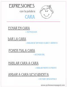 """Expresiones con la palabra """"cara"""". Nivel B1 www.professeurespagnol.com"""