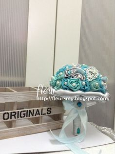Mint and Tiffany Blue Satin Bouquet by Fleur