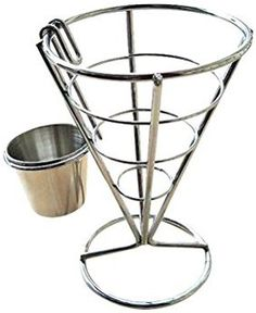 BESTONZON French Fry Stand Cone Basket French Fry Chips Cone Metal Wire Basket with Sauce Dippers for Home Parties/Backyard Picnics/Outdoor Events/Appetizers Outdoor Restaurant Patio, Restaurant Kitchen Design, Food Cart Design, Fried Chips, Container Restaurant, Mexican Menu, Chip And Dip Sets, Bistro Food, Container Shop