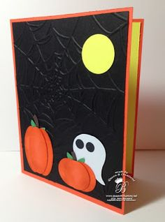handmade Halloween card ..Owl Builder Punch ghose ... punch art pumpkins ... night scene with spiderweb embossing folder texture on black background ...  Queen B Creations .... Stampin' Up!