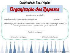 Certificado de Boas-Vindas da Organização dos Rapazes