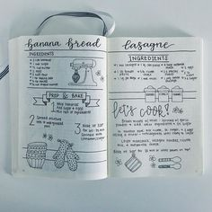 diy food ideas These drool worthy bullet journal food diary ideas will help you keep organized. Bullet Journal Notebook, Bullet Journal Ideas Pages, Bullet Journal Spread, Bullet Journal Layout, Bullet Journal Inspiration, Journal Pages, Homemade Recipe Books, Diy Recipe Book, Homemade Cookbook