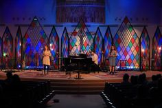 Stained Glass Everywhere! from Church at the Crossing in Aledo, TX | Church Stage Design Ideas