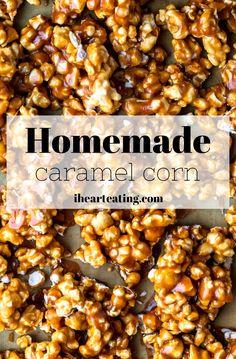 Easy Homemade Caramel Corn - I Heart Eating Caramel Corn Recipes, Popcorn Recipes, Best Dessert Recipes, Fun Desserts, Snack Recipes, Snacks, Sweet Popcorn, Homemade Popcorn
