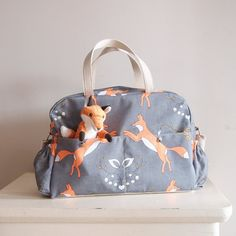 4177963dc78 BEST SELLER Fox Big Diaper Nappy bag   eco canvas and faux leather  Playful  Foxes  big versatile and practical bag  baby bag changing bag