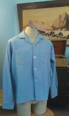Vintage 1950's 50's Jack Kerouac Flannel Shirt Baby Blue VLV Rockabilly L | eBay