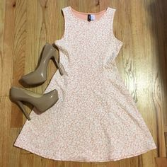 Dress Worn once! Peachy pink color and white. H&M Dresses Mini