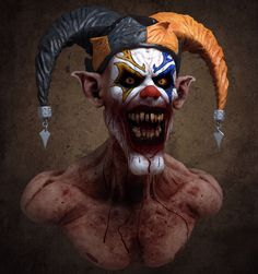 Bust of an Evil Clown. Halloween Clown, Gruseliger Clown, Clown Horror, Joker Clown, Scary Clown Mask, Clown Posse, Joker Art, Arte Horror, Evil Clowns
