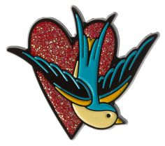 Sparrow Heart Enamel Pin by Sourpuss (Sourpuss). SOURPUSS SPARROW HEART Our Sparrow Heart Enamel Pin is the perfect piece to add to your growing pin collection. Featuring traditional tattoo styling, this pretty blue bird and heart w Punk Store, Sourpuss Clothing, Rock Shirts, Cute Pins, Traditional Tattoo, Blue Bird, Pin Collection, Punk Rock, Vintage Inspired