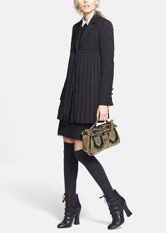 Fall Fashion | Tory Burch pleated coat and sheath dress.