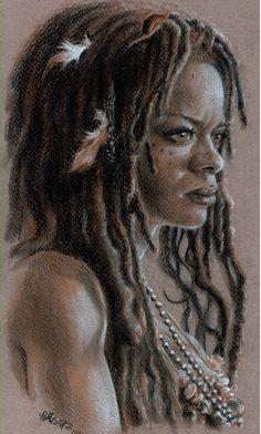 Tia Dalma by Honorat Selonnet Pirate Art, Pirate Life, Caribbean Art, Pirates Of The Caribbean, Calypso Pirates, Tia Dalma, Natural Hair Art, Illustrations, Sculpture