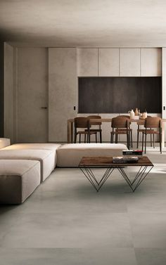 The high performance of high-tech porcelain stoneware is combined with the very particular look of resin to create HQ.RESIN, the new, extraordinary collection by FIANDRE. Floor Tiles For Home, Tile Floor, Floor Seating, Flooring Options, Kitchen Interior, Home Projects, Room Inspiration, Dining Bench, Architecture