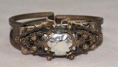 Rare Vintage Miriam Haskell Bracelet ~Baroque Gilt Enamel Filigree ~Signed  | eBay