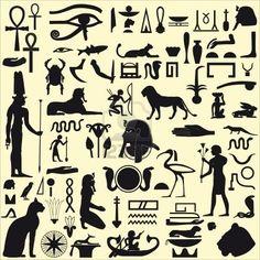 Silhouettes égyptien de symboles et signes Banque d'images