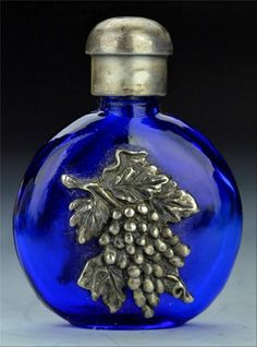 Vintage Signed 1920's Repousse Silver Cobalt Blue Glass Perfume Scent Bottle | eBay