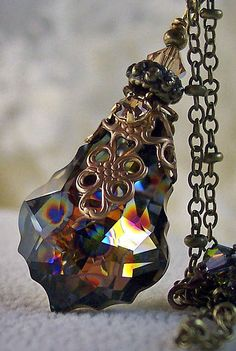 FILIGREE WRAP PENDANT...........................New Swarovski Peacock Coated/Golden Shadow by HisJewelsCreations, $32.00