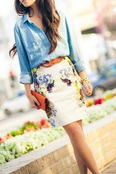 Casual Work Denim Shirt Brown Belt Floral Skirt