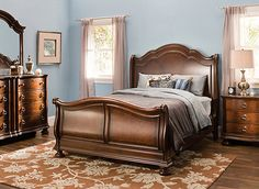 If creating a beautiful bedroom is at the top of your list, then this Pembrooke 4-piece queen bedroom set should be, too! Its shapely frames, sleigh bed and turned bun feet are timeless. Plus, you'll love how the gorgeous veneers and walnut burl inlays enrich the old-world cherry finish. And let's not forget the thoughtful details, like felt- and cedar-lined drawers, jewelry storage in the dresser and antiqued hardware that adds the perfect finishing touch.