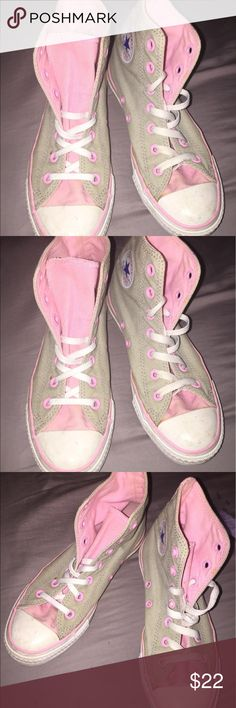Women's Converse Pink & Tan High Tops Size 6 Converse Pink & Grey. As label shows these are unisex and are a women's six 6 & a men's size 4. Shoes are in good used condition. Only a few minor scuffs on toe as shown in pictures. Converse Shoes Sneakers