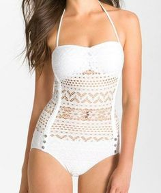 Summer Looks 2018 Ideas Picture Description Ooh la la! Want this white crochet one-piece swimsuit for One Piece Swimwear, Bikini Swimwear, One Piece Swimsuit, Bikinis, Bikini Beach, Beach Bum, Belle Lingerie, Corsets, Crochet One Piece