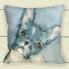 French Bull Dog, watercolour, cushion. Pillow Etsy shop https://www.etsy.com/uk/listing/492308027/french-bull-dog-portrait-pillow-cushion