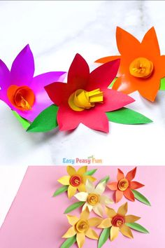 How to Make Paper Daffodils – Flower Crafts - Origami Kids Crafts, Easter Crafts, Diy And Crafts, Arts And Crafts, Art Crafts, Fabric Crafts, Jewelry Crafts, Paper Flowers Craft, Flower Crafts