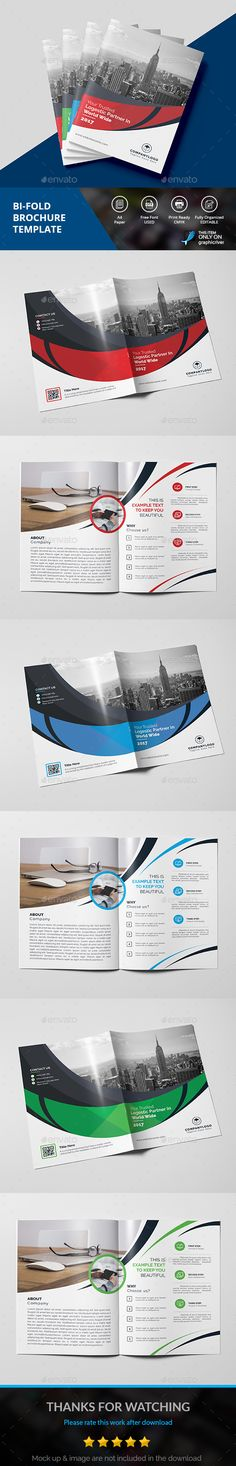 BIFOLD Brochure — Photoshop PSD #red #ad • Download ➝ https://graphicriver.net/item/bifold-brochure/19197160?ref=pxcr
