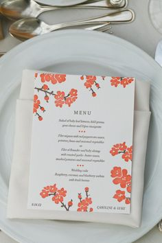 Gorgeous menus featuring our Mimosa design, as seen on Style Me Pretty | Photography by sarawightphotography.com  See more - http://www.stylemepretty.com/2013/05/31/brooklyn-botanic-garden-wedding-at-the-palm-house-from-sara-wight-photography/