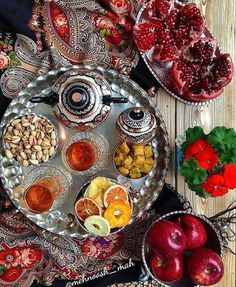 Iranian Afternoon Snacks: A mixture of fresh & dried fruits, sweets, nuts & tea