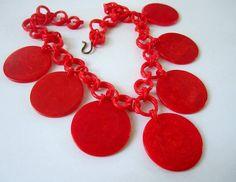 VIntage Red Poker Chip Necklace by BakeliteBaby on Etsy, $49.00