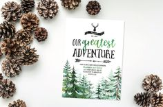 Greatest Adventure Invitation- Baby Shower- Bear- Sprinkle- Outdoors- Couples- Mountains- Arrows- Digital File- Printable- Print Yourself by 4414Designs on Etsy
